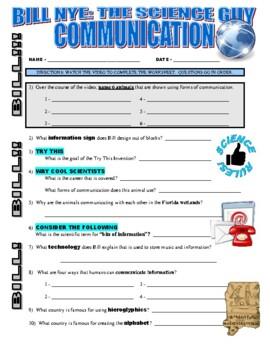 Bill Nye the Science Guy : COMMUNICATION (STEM video worksheet)