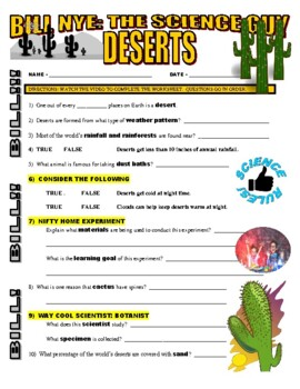 Bill Nye the Science Guy : DESERTS (video worksheet)