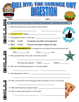Bill Nye the Science Guy : DIGESTION (human body video worksheet)