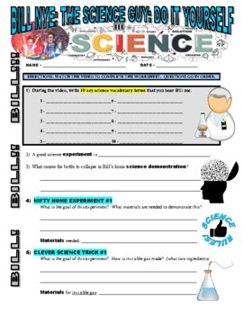 Bill nye the science guy do it yourself science video worksheet solutioingenieria Images