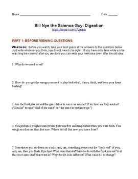 Bill Nye the Science Guy: Digestion Worksheet