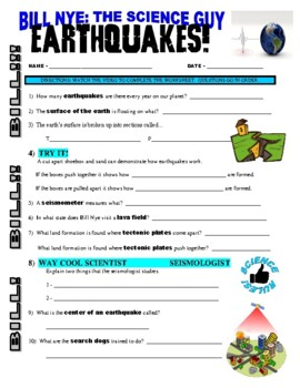 Bill Nye the Science Guy : EARTHQUAKES (video worksheet)