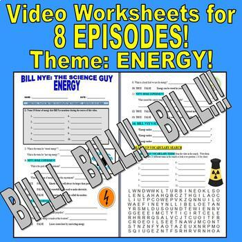 Bill Nye the Science Guy : ENERGY Set (8 video worksheets)
