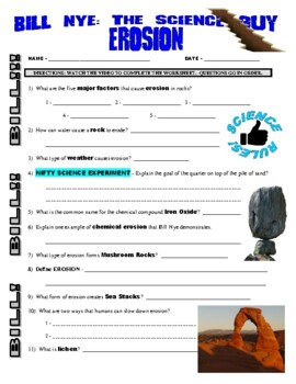 Bill Nye the Science Guy : EROSION (Earth Science video worksheet)