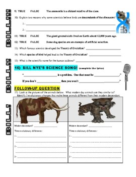 Bill Nye the Science Guy : EVOLUTION (video worksheet)