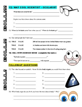 Bill Nye the Science Guy : EYEBALL (video worksheet)