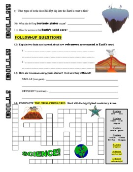 Bill Nye the Science Guy : EARTH'S CRUST (video worksheet)