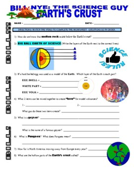 Bill Nye the Science Guy : EARTH'S CRUST (video worksheet)