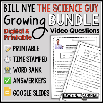 Bundle Bill Nye The Science Guy Video Questions W Word Bank Time