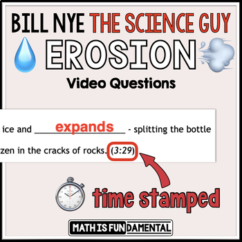 Bill Nye the Science Guy Erosion Video Questions with Word Bank and Time Stamp
