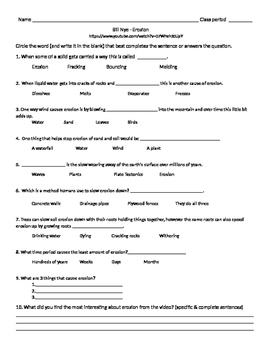 Bill Nye The Science Guy Erosion Worksheets & Teaching ...