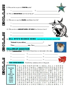 Bill Nye the Science Guy : FISH (animal video worksheet)