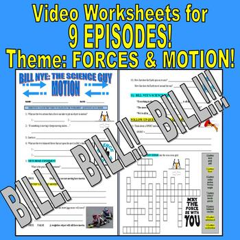 Bill Nye the Science Guy : FORCES & MOTION Set (9 video worksheets)