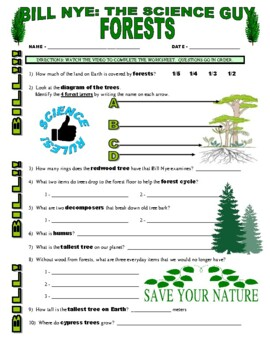 Bill Nye the Science Guy : FORESTS (environment video worksheet)