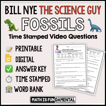 Bill Nye the Science Guy Fossils Video Questions with Word