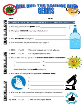 Bill Nye the Science Guy : GERMS (video worksheet) by ...