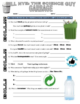 Bill Nye the Science Guy : GARBAGE (environment video worksheet)