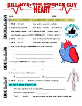 Bill Nye the Science Guy : HEART (human body video worksheet)