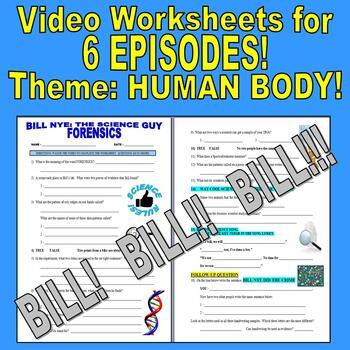 Bill Nye the Science Guy : HUMAN BODY Set 1 (6 Video Worksheets Bundle)