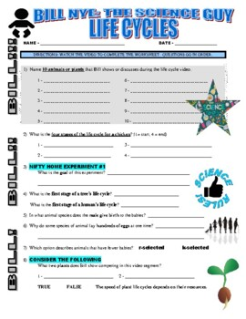 Bill Nye the Science Guy : LIFE CYCLES (video worksheet) | TpT
