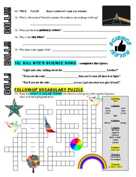 Bill Nye the Science Guy : LIGHT AND COLOR (video worksheet)