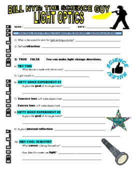 bill nye light optics worksheet answers geotwitter kids activities. Black Bedroom Furniture Sets. Home Design Ideas
