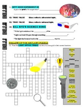 Bill Nye the Science Guy : LIGHT OPTICS (video worksheet)