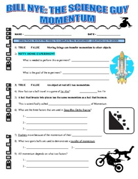 bill nye science guy motion worksheets bill best free printable worksheets. Black Bedroom Furniture Sets. Home Design Ideas