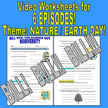 Bill Nye the Science Guy : NATURE / ENVIRONMENT (6 video worksheets mini-bundle)