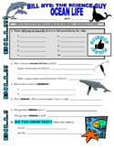 Bill Nye the Science Guy : OCEAN LIFE (animals video worksheet)