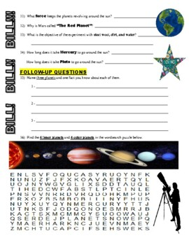 Bill Nye the Science Guy : PLANETS AND MOONS (space / planets video worksheet)