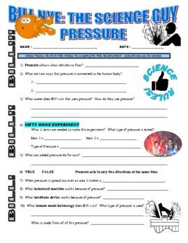 Bill Nye the Science Guy : PRESSURE (forces & motion video worksheet)