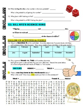 Bill Nye the Science Guy : PROBABILITY (STEM video worksheet)