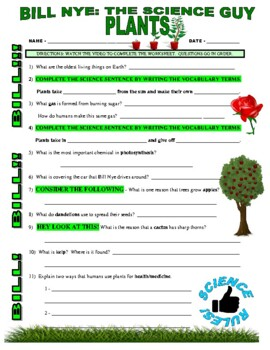 Bill Nye the Science Guy : PLANTS (nature video worksheet)