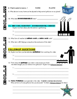 Bill Nye the Science Guy : POLLUTION SOLUTION (video worksheet) / Earth Day