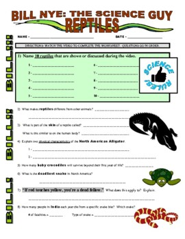 Bill Nye the Science Guy : REPTILES (animals video worksheet)