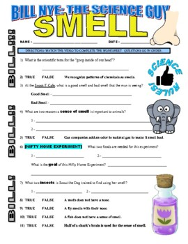 Bill Nye the Science Guy : SMELL (video worksheet)