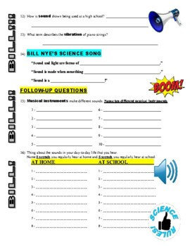 Bill Nye the Science Guy : SOUND (video worksheet)