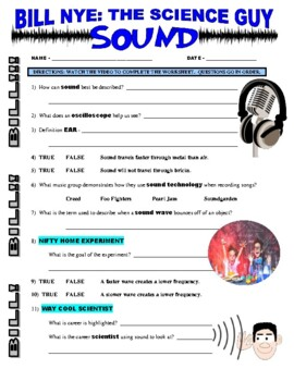 Bill Nye the Science Guy : SOUND (video worksheet) by ...