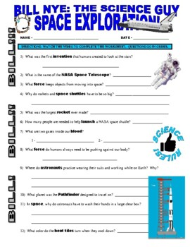 bill nye the science guy space exploration space planets video worksheet. Black Bedroom Furniture Sets. Home Design Ideas