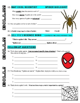 Bill Nye the Science Guy : SPIDERS (animals video worksheet)