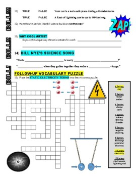 Bill Nye the Science Guy : STATIC ELECTRICITY (video worksheet)