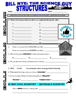 Bill Nye the Science Guy : STRUCTURES (STEM video worksheet)