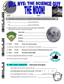 bill nye planets and moons worksheet answers - photo #11