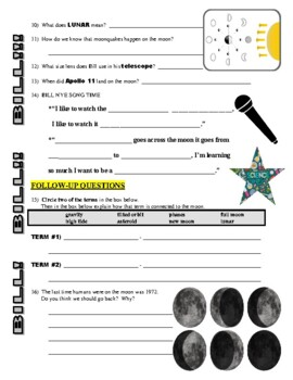 Bill Nye the Science Guy : THE MOON (space / planets video worksheet)
