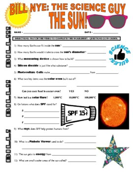 Bill Nye the Science Guy : THE SUN (space video worksheet)