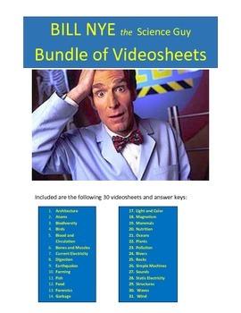 Bill Nye 30 Video worksheets Bundle Package!
