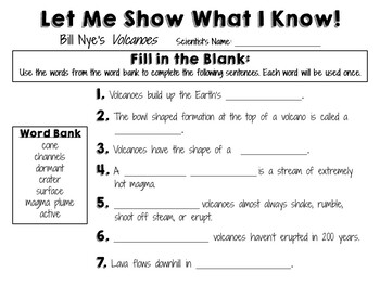 34 Bill Nye The Science Guy Volcanoes Worksheet ...