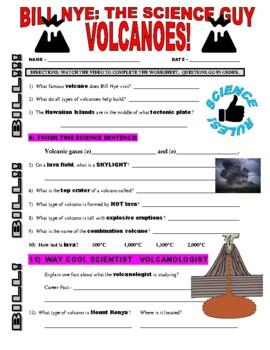 Bill Nye the Science Guy : VOLCANOES! (Earth video worksheet)