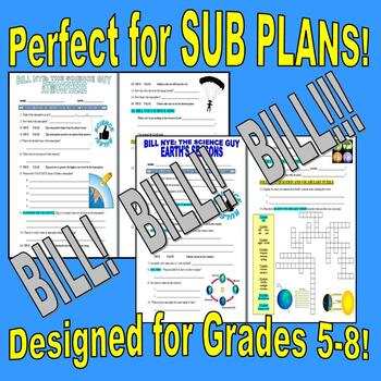 Bill Nye the Science Guy : WEATHER & EARTH SCIENCE Set (6 video worksheets)